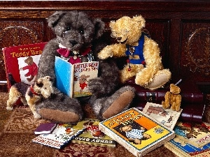 Books, bear, glasses