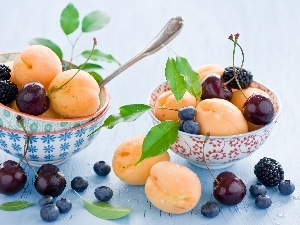 apricots, cherries, Bowls, blueberries