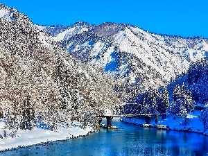 Mountains, River, bridge, winter