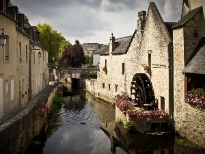 canal, Houses, water, by, Windmill