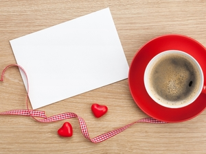cup, coffee, heart, card, string, red hot