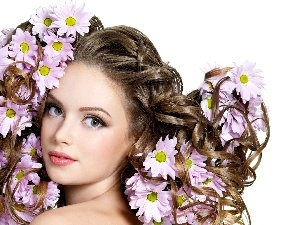 Women, Flowers, characterization, make-up