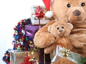 christmas, bear, gifts