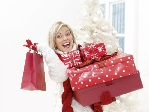 Women, shopping, Christmas, Packages