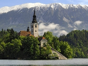 Mountains, woods, church, River