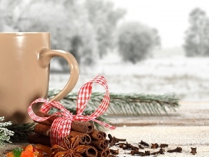 Cup, twig, cinnamon, snow, ribbon, Swierk