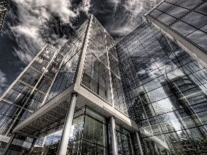 clouds, glass, architecture