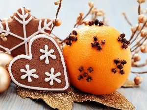 Gingerbread, decoration, cloves, baubles, orange, Christmas