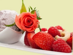 ice cream, rose, composition, Fruits