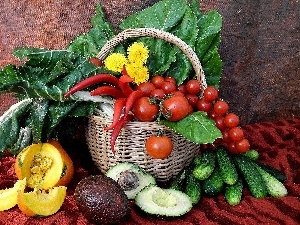 vegetables, basket, composition, Fruits
