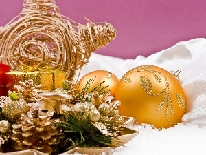 Christmas, baubles, cones, composition