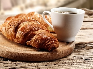 croissant, coffee, Cup