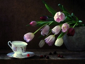 cup, Tulips, Vase