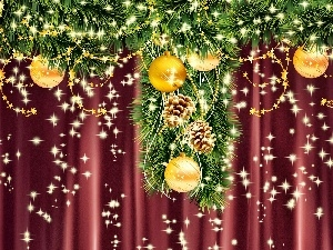 christmas, satin, curtain, baubles
