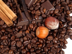 cuts, chocolate, coffee, nuts, grains