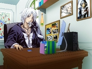 monitor, pictures, Allen Walker, desk, D.Gray-Man