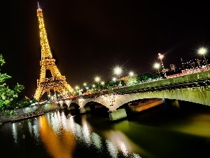 Paris, tower, Eiffla, night