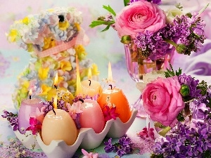 Easter, Candles, Flowers, decoration