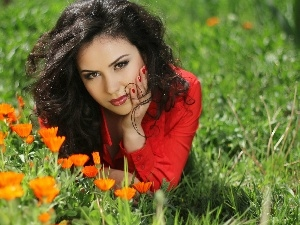 Park, grass, Flowers, Women