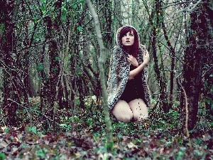 Terrified, Fur, forest, Women