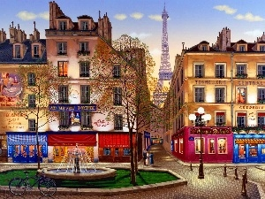 France, Paris, fountain, stores, Houses