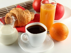 breakfast, cup, milk, Juices, Fruits, coffee