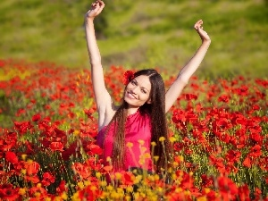 Meadow, smiling, girl, papavers