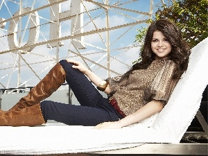 high boots, Hotel hall, Selena Gomez, hammock chair, smiling