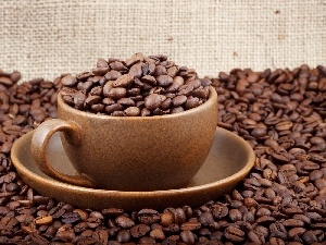 grains, coffee, cup, saucer, Brown