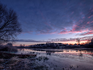 clouds, coast, White frost, Latgale, trees, River, grass, Latvia, Great Sunsets, viewes