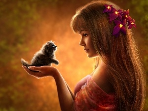Hair, Flowers, kitten, girl, honeyed