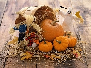 pumpkin, puppets, halloween, basket