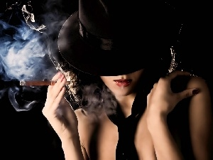 Hat, Women, cigar