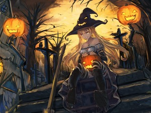 Stairs, witch, moon, girl, halloween, house, pumpkin