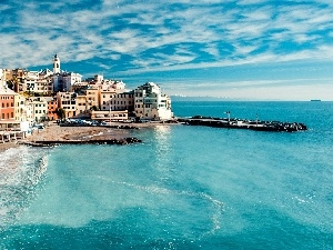Italy, Town, Houses, sea