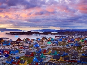 Ilulissat, Greenland, Houses, Town, color