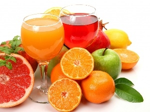 Juices, Fruits, glasses