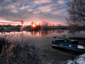 Great Sunsets, coast, boats, Latgale, trees, Dubna River, scrub, Latvia, winter, viewes