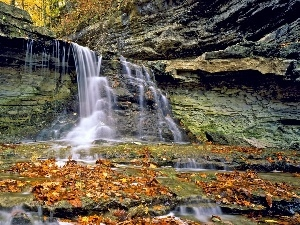 Leaf, autumn, rocks, forest, waterfall