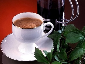 Espresso, coffee, Leaf, cup