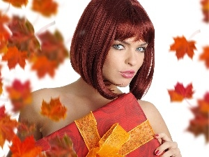 Women, Beauty, Leaf, Present, Autumn, redhead
