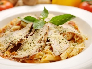 leaves, mint, chicken, macaroni, grilled
