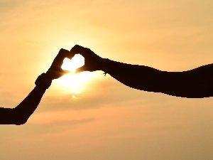 lovers, Great Sunsets, Heart teddybear, love, hands