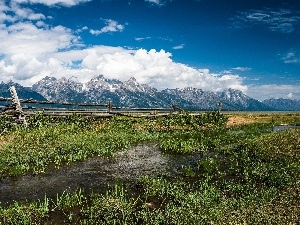 Mountains, River, Meadow, clouds