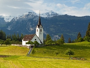 church, woods, medows, Mountains