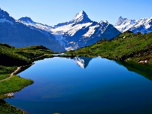 medows, Way, Bechalpsee, Mountains, lake