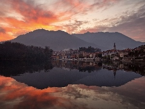 lake, west, Mergozzo, Italy, Town, sun