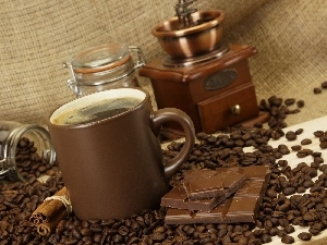 mill, chocolate, coffee, grains, Cup
