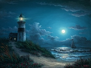 Lighthouses, Night, moon, sea