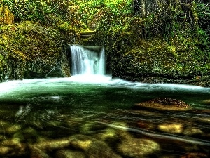 waterfall, viewes, Moss, trees